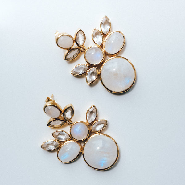 Heavy Drop Moonstone Earrings in Gold Plated Sterling Silver - Presea Gold Sterling Silver Jewellery Gemstone Jewelry