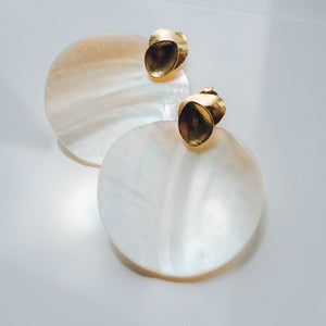 Mother of Pearl Shell Earrings - Presea Gold Sterling Silver Jewellery Gemstone Jewelry
