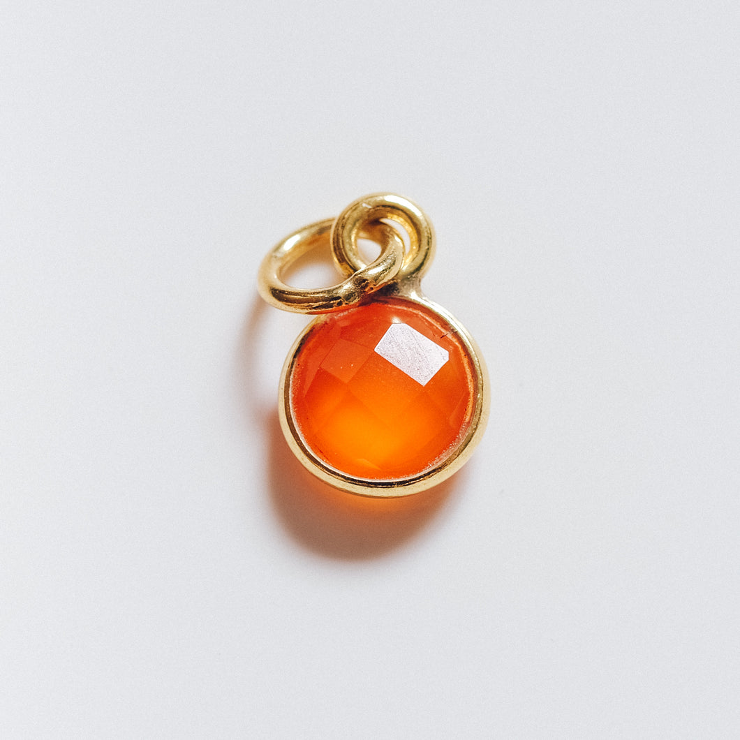 Gold Plated Carnelian Charm - Presea Gold Sterling Silver Jewellery Gemstone Jewelry