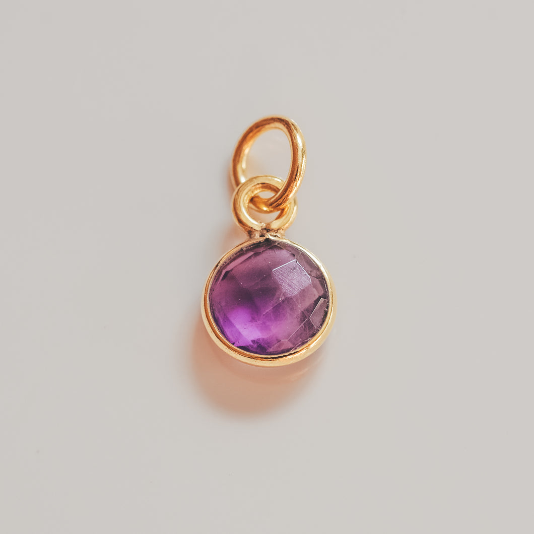 Gold Plated Amethyst Charm - Presea Gold Sterling Silver Jewellery Gemstone Jewelry