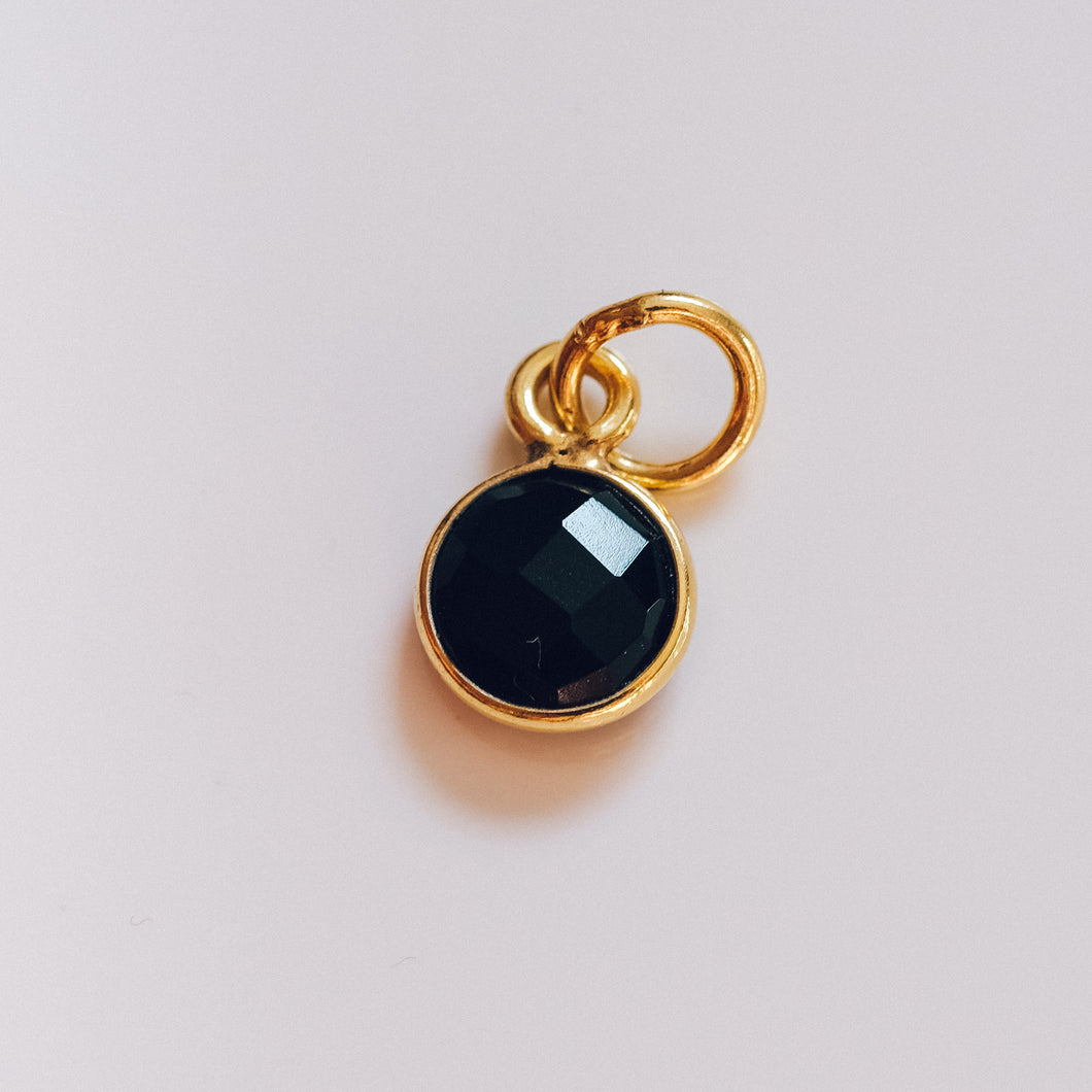 Gold Plated Black Onyx Charm - Presea Gold Sterling Silver Jewellery Gemstone Jewelry