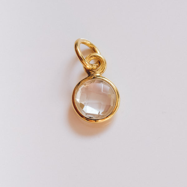 Gold Plated Clear Quartz Zodiac Chakra Charm - Presea Gold Sterling Silver Jewellery Gemstone Jewelry
