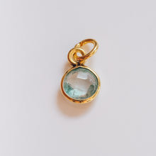Load image into Gallery viewer, Gold Plated Aquamarine Charm - Presea Gold Sterling Silver Jewellery Gemstone Jewelry