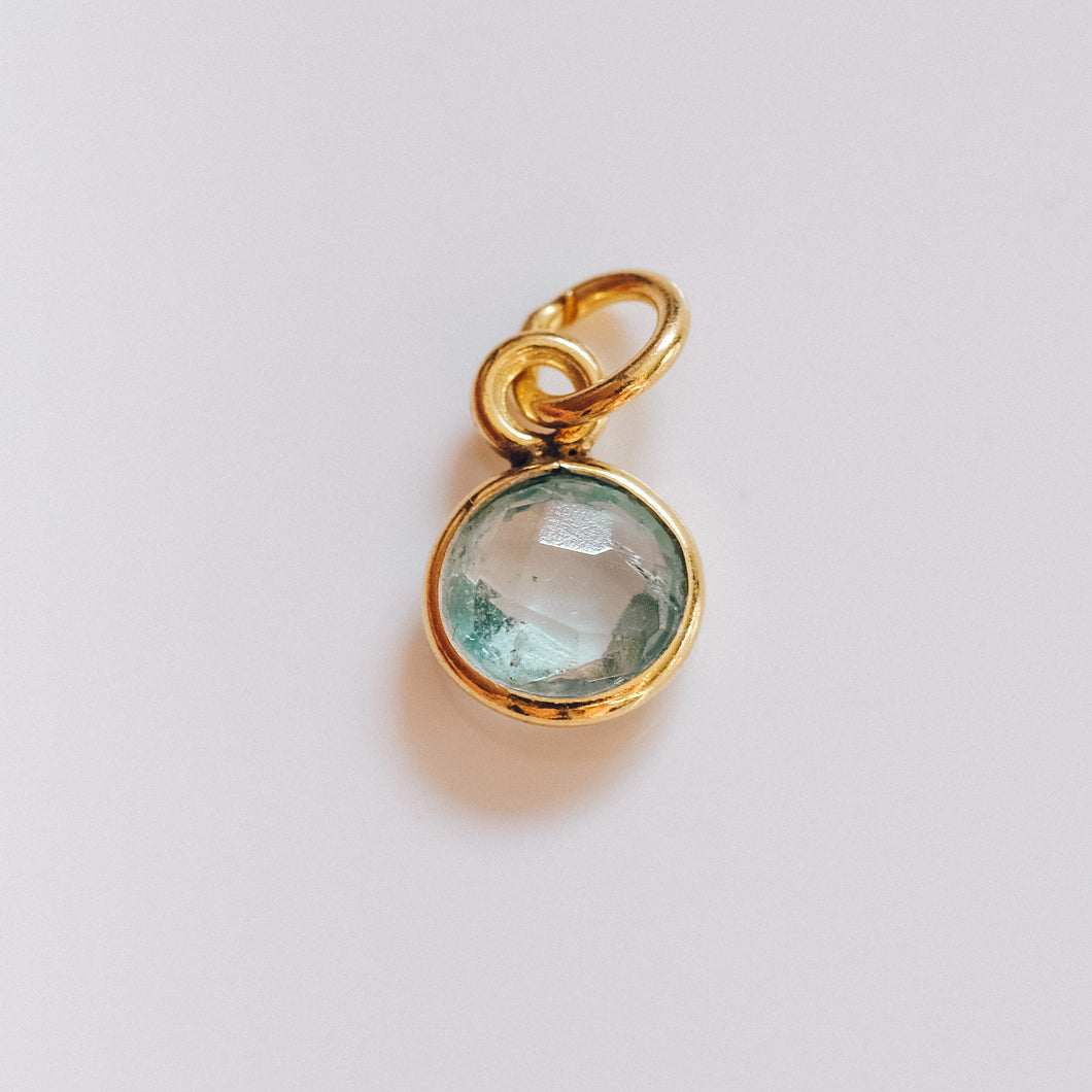 Gold Plated Aquamarine Charm - Presea Gold Sterling Silver Jewellery Gemstone Jewelry