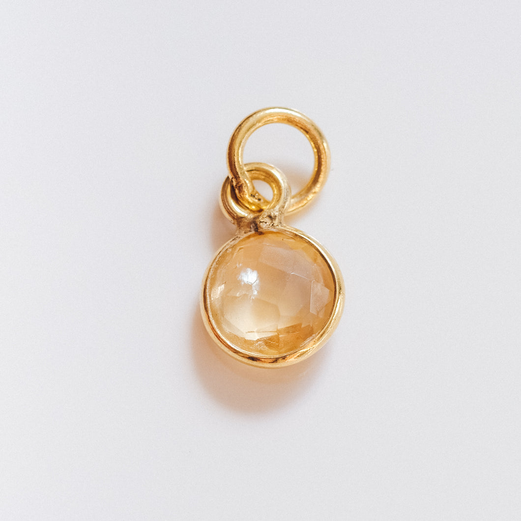 Gold Plated Citrine Charm - Presea Gold Sterling Silver Jewellery Gemstone Jewelry