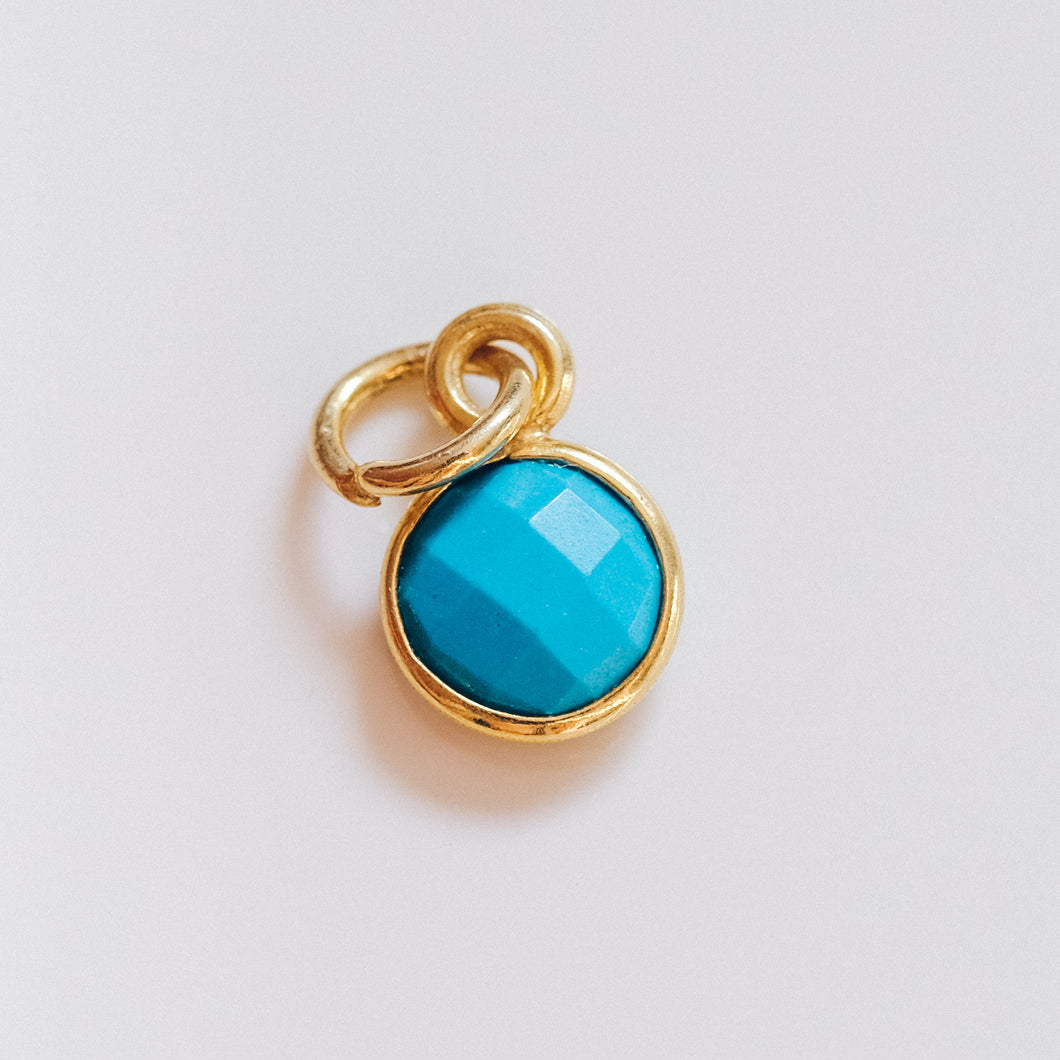 Gold Plated Turquoise Charm - Presea Gold Sterling Silver Jewellery Gemstone Jewelry