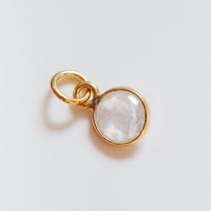 Gold Plated Moonstone Charm - Presea Gold Sterling Silver Jewellery Gemstone Jewelry