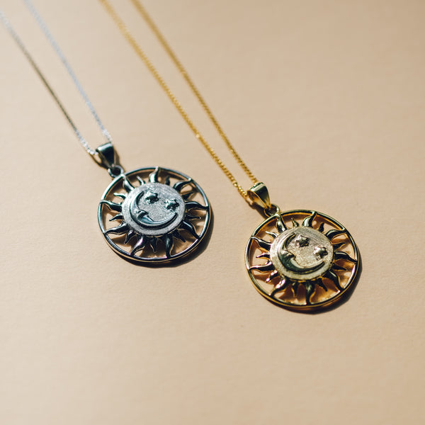 Sun, Moon and Stars Necklace in Sterling Silver