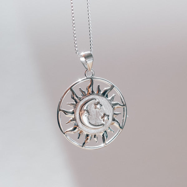 Sun, Moon and Stars Necklace in Sterling Silver - Presea Gold Sterling Silver Jewellery Gemstone Jewelry