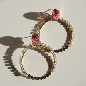 Gold Plated Silver Tourmaline and Labradorite Hoop Earrings - Presea Gold Sterling Silver Jewellery Gemstone Jewelry
