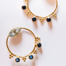 Load image into Gallery viewer, Gold Plated Silver Topaz and Iolite Hoop Earrings - Presea Gold Sterling Silver Jewellery Gemstone Jewelry