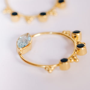 Gold Plated Silver Topaz and Iolite Hoop Earrings - Presea Gold Sterling Silver Jewellery Gemstone Jewelry