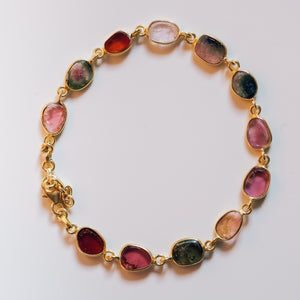 Gold Plated Silver Tourmaline Bracelet - Presea Gold Sterling Silver Jewellery Gemstone Jewelry