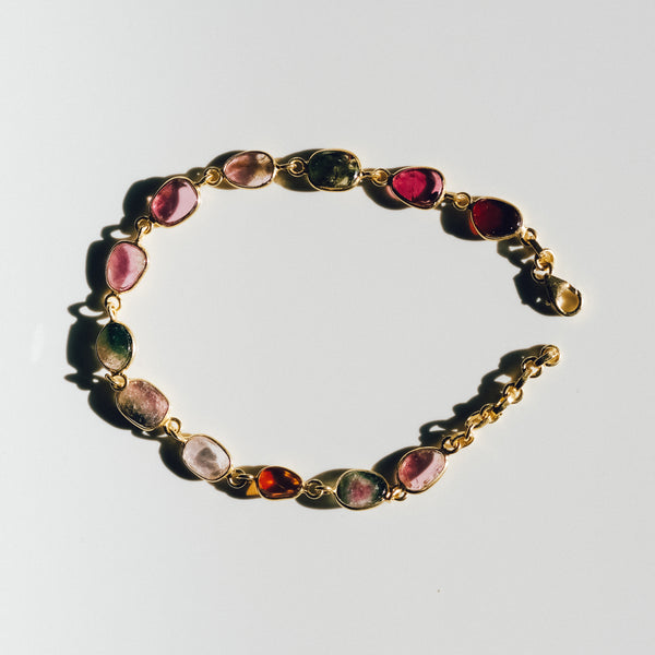 Gold Plated Silver Tourmaline Bracelet