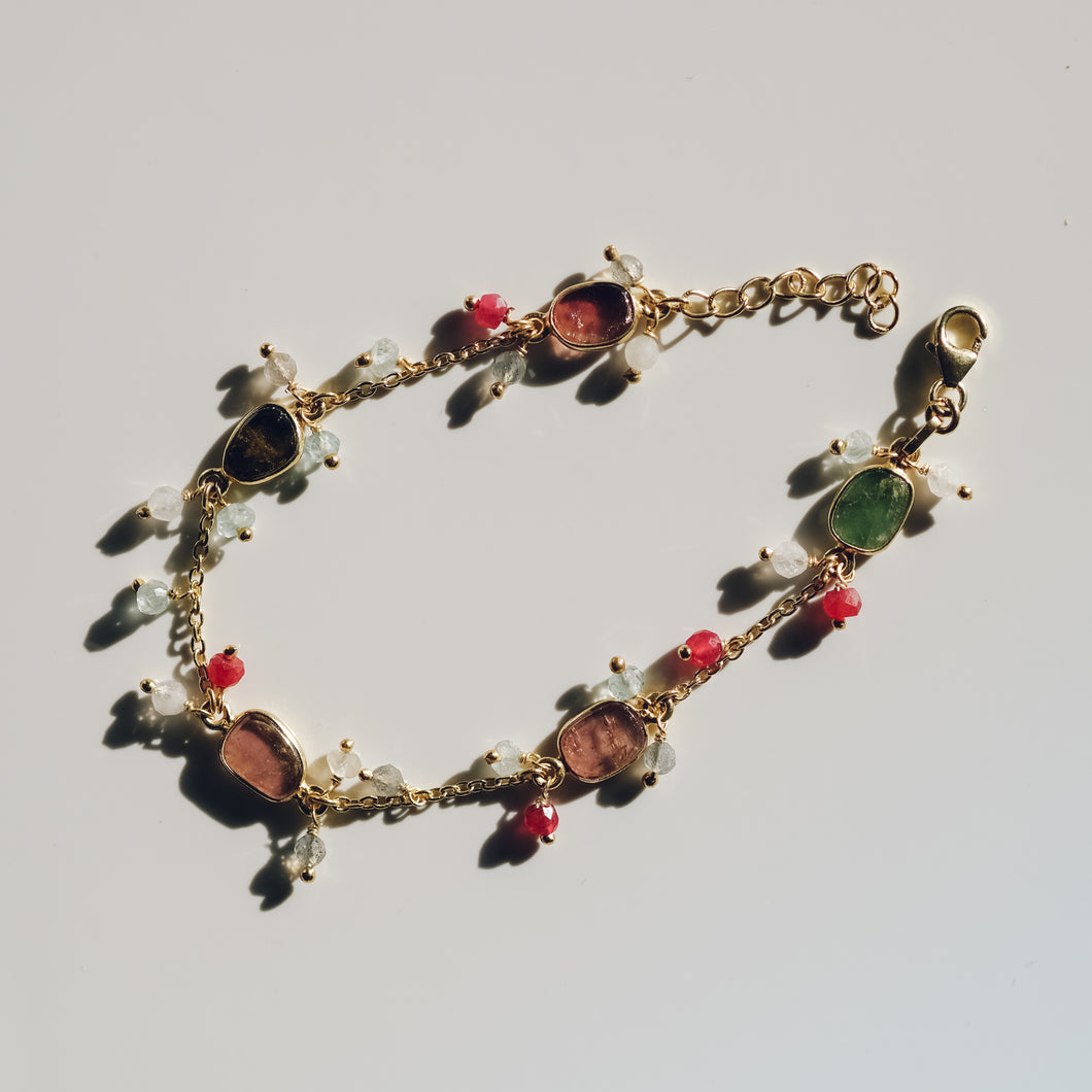 Gold Plated Silver Tourmaline Bracelet with Dangle Beads