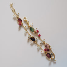 Load image into Gallery viewer, Gold Plated Silver Tourmaline Bracelet with Dangle Beads