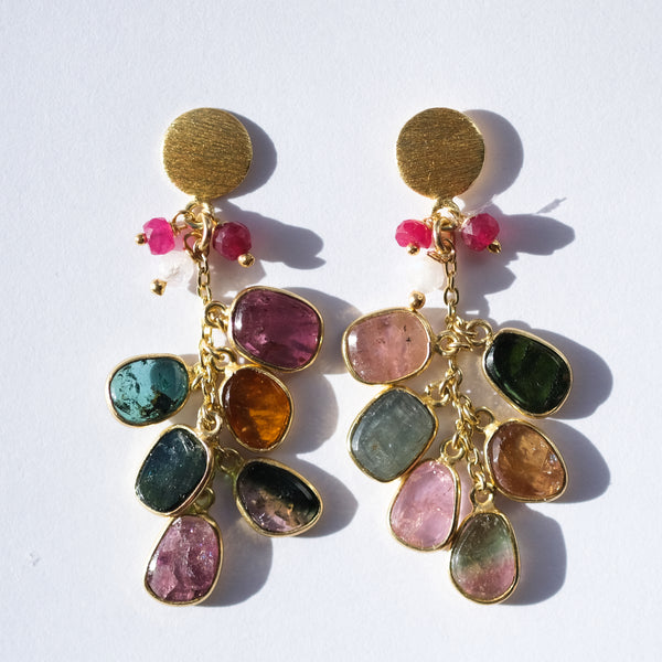 Gold Plated Silver Tourmaline Dangle Earrings - Presea Gold Sterling Silver Jewellery Gemstone Jewelry