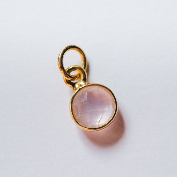 Gold Plated Rose Quartz Charm - Presea Gold Sterling Silver Jewellery Gemstone Jewelry