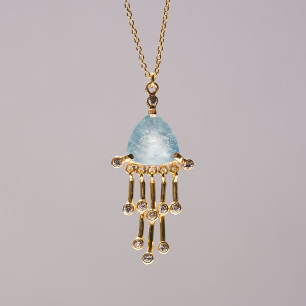 Marin Necklace | Gold plated sterling silver aquamarine necklace - Presea Gold Sterling Silver Jewellery Gemstone Jewelry