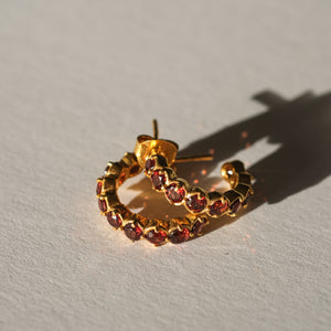 Garnet Huggies in Gold Plated Sterling Silver - Presea Gold Sterling Silver Jewellery Gemstone Jewelry