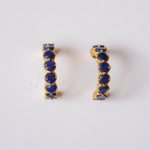Lapis Lazuli Huggies in Gold Plated Sterling Silver - Presea Gold Sterling Silver Jewellery Gemstone Jewelry