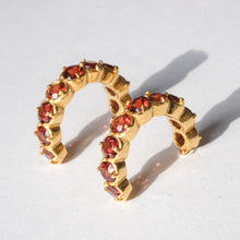Load image into Gallery viewer, Garnet Huggies in Gold Plated Sterling Silver - Presea Gold Sterling Silver Jewellery Gemstone Jewelry
