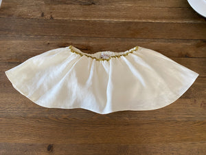 Presea Linen Crop Top with Gold Stripe in White - Preséa