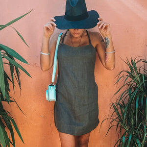 Presea Linen Mini Dress with Adjustable Straps in Brown - Preséa