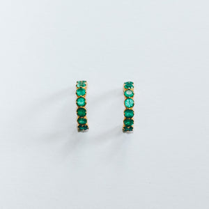 Green Onyx Huggies in Gold Plated Sterling Silver - Presea Gold Sterling Silver Jewellery Gemstone Jewelry