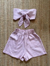 Load image into Gallery viewer, Presea Linen Relaxed Shorts with Frill in Pink - Presea Gold Sterling Silver Jewellery Gemstone Jewelry