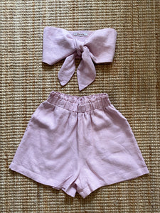 Presea Linen Relaxed Shorts with Frill in Pink - Preséa