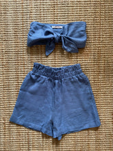 Load image into Gallery viewer, Presea Linen Shots and Tie Front Tube Top in Blue (set) - Preséa