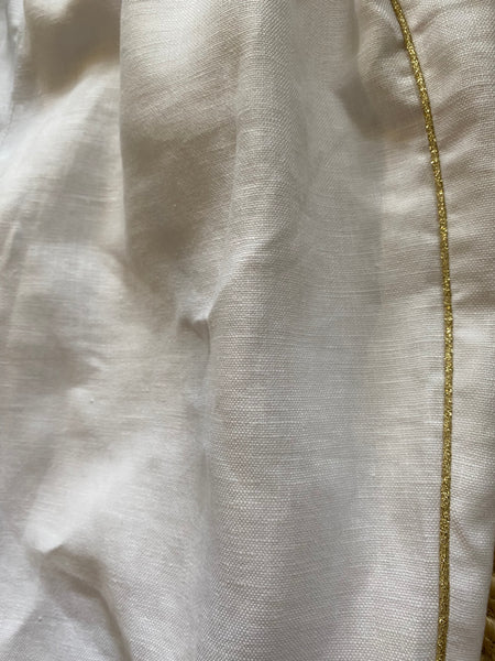 Presea Linen Shorts with Frill Band in Off-White - Presea Gold Sterling Silver Jewellery Gemstone Jewelry