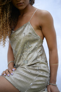 Selina Dress | Mini Sequin Dress with Adjustable Strappy Back - Presea Gold Sterling Silver Jewellery Gemstone Jewelry