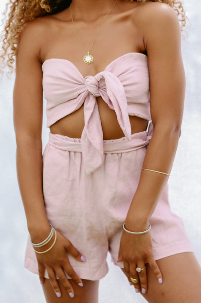 Presea Linen Relaxed Shorts with Frill in Pink - Presea Gold Sterling Silver Jewellery Gemstone Jewelry
