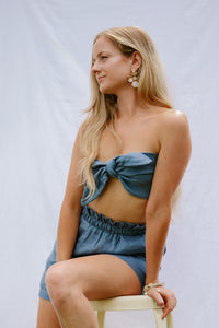 Presea Linen Shots and Tie Front Tube Top in Blue (set) - Presea Gold Sterling Silver Jewellery Gemstone Jewelry
