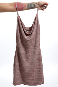 Presea Mini Crinkle Cow Neck Dress in Dusty Pink - Preséa