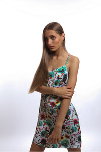 Presea Mini Dress with Adjustable Strappy Back in Floral Print - Preséa