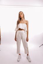 Load image into Gallery viewer, Presea Linen Relaxed Trousers with Gold Stripes in White - Presea Gold Sterling Silver Jewellery Gemstone Jewelry