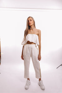 Presea Linen Relaxed Trousers with Gold Stripes in White - Presea Gold Sterling Silver Jewellery Gemstone Jewelry