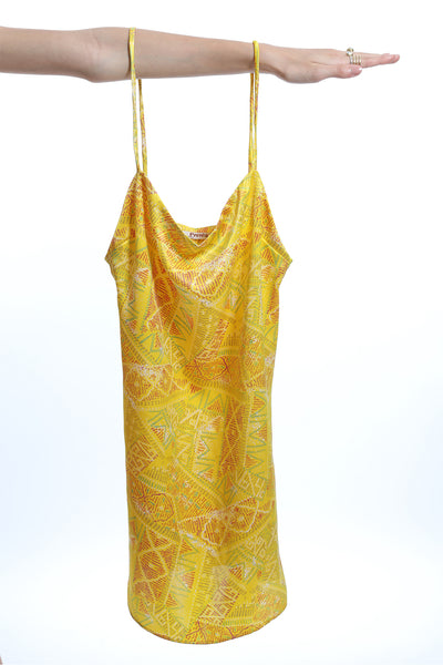 Presea Satin Dress with Adjustable Straps in Yellow Print - Presea Gold Sterling Silver Jewellery Gemstone Jewelry