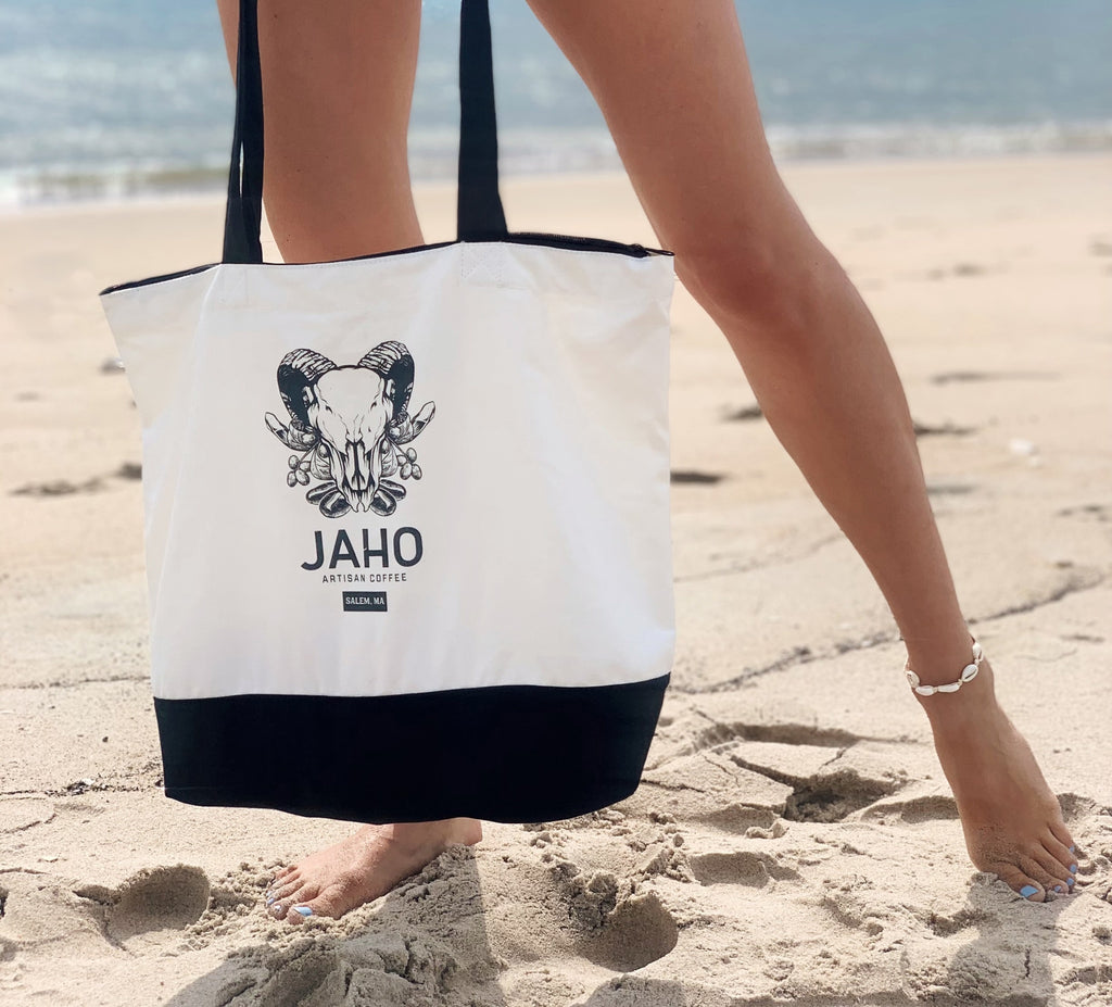 Jaho Tote Bag - Classic Cotton Two-Tone Deluxe with Zip - Jaho Coffee & Tea