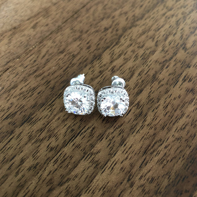 Square Setting Silver Crystal Stud Earrings