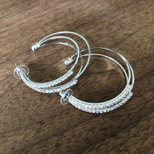 Load image into Gallery viewer, Triple Rhinestone Hoops
