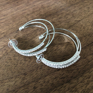 Triple Rhinestone Hoops