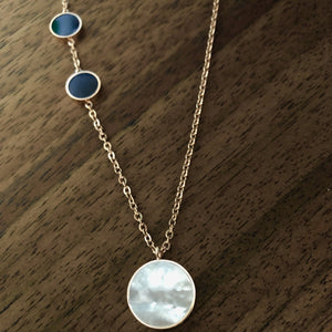 Black & Opal Rose Gold Necklace