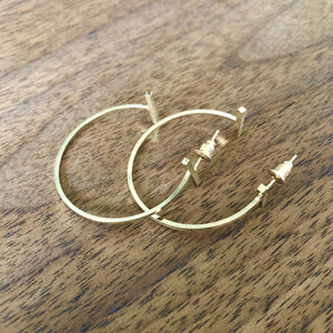 Gold Hoops With Bar Detail