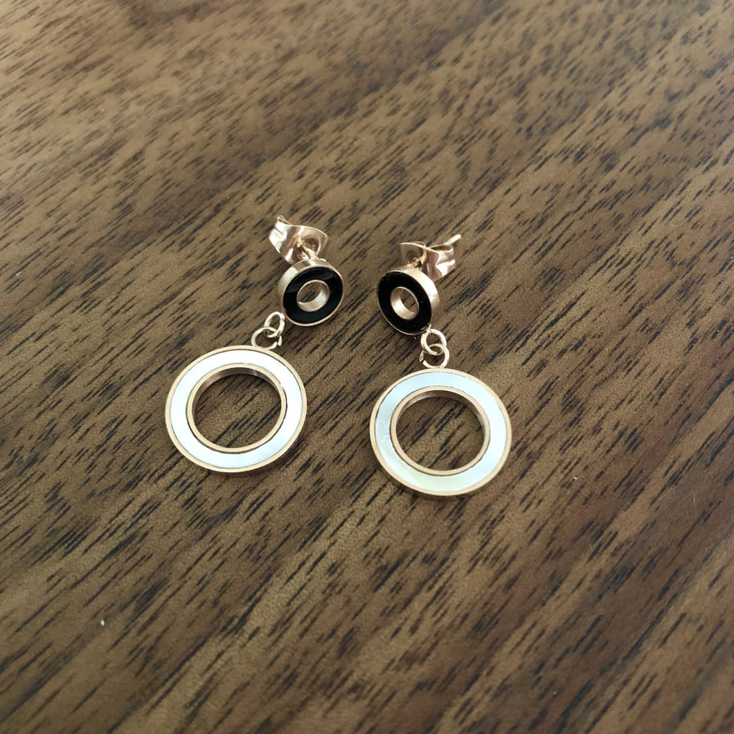 White and Black Circle Drop Earrings