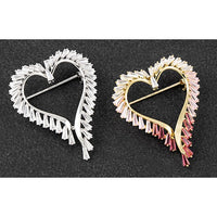 Crystal heart brooch