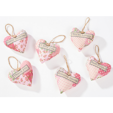 Patchwork fabric heart hanger